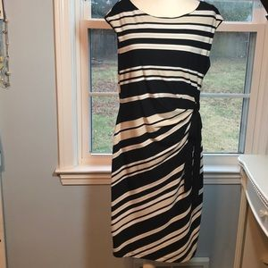 Tan, black, while stripe dress, with tie at side